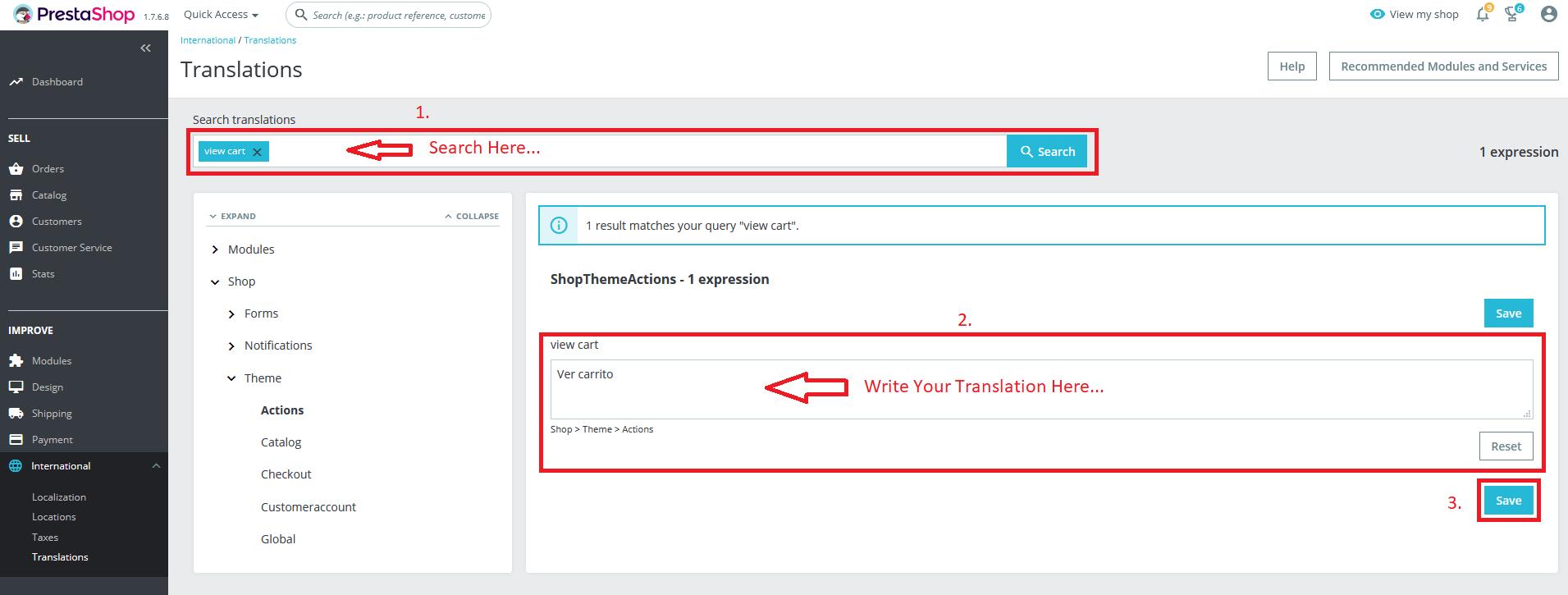 Theme Translation Section Configuration