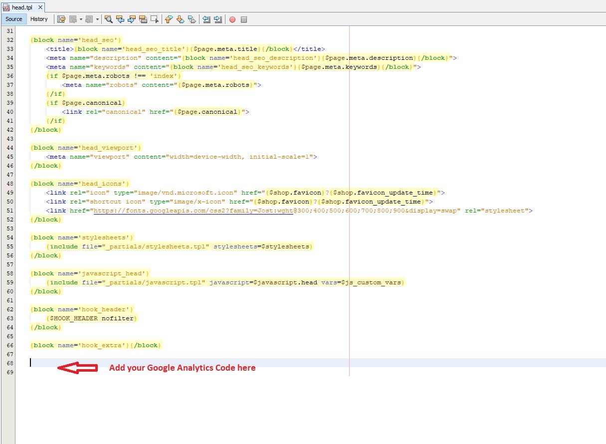 Google Analytics Code File