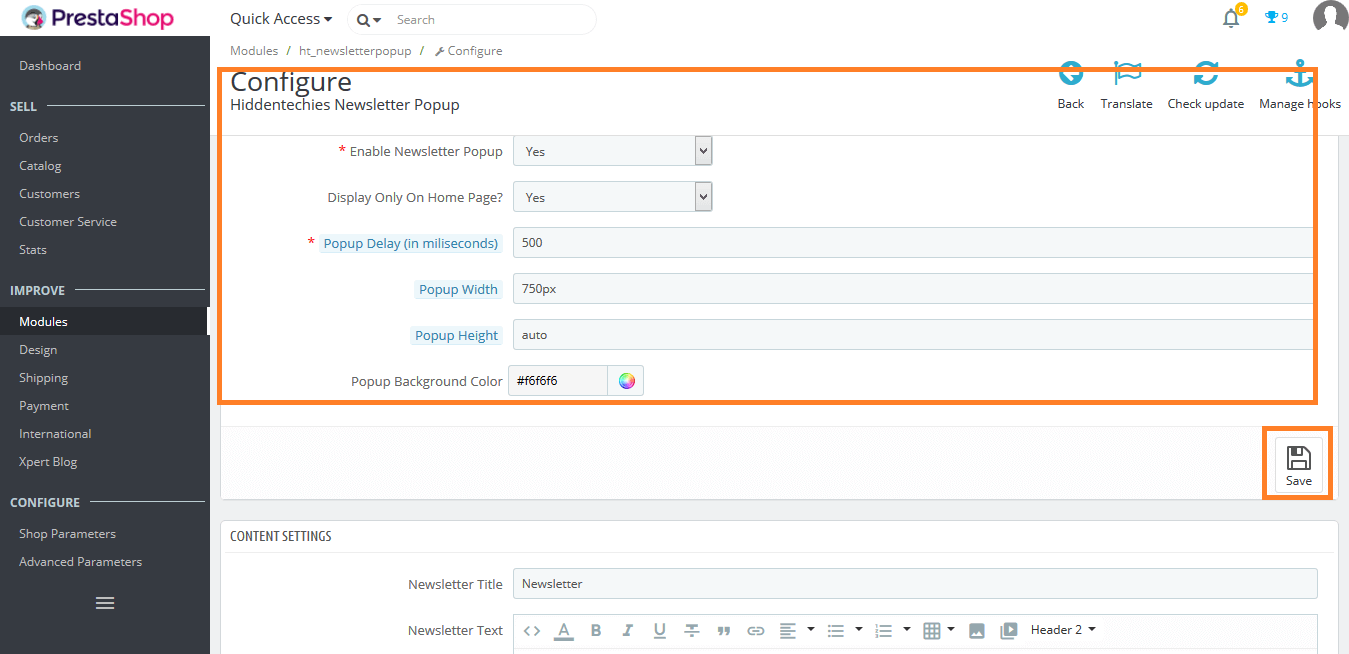 Newsletter Popup Configuratoin